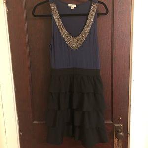 Racerback jewel collar mini dress